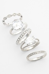 Ariella Collection Mixed Stackable Rings Set Of 5 Metallic