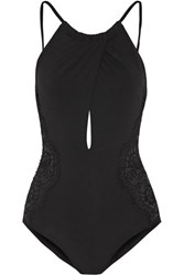 I.D. Sarrieri Elite Cutout Chantilly Lace Paneled Halterneck Swimsuit Black