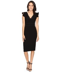 Rebecca Taylor Sleeveless Crepe Lace Dress Black Women's Dress