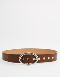 Asos Oval Buckle Eyelet Jeans Belt Brown