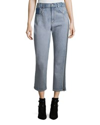 3.1 Phillip Lim Straight Leg Cropped Jeans With Side Zipper Detail White