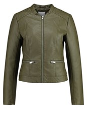 Vila Vipopular Faux Leather Jacket Ivy Green Khaki