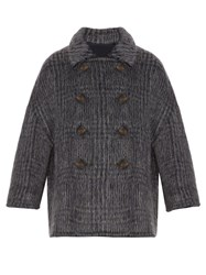 Brunello Cucinelli Prince Of Wales Check Wool Blend Jacket Navy