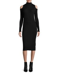 Rebecca Taylor Cold Shoulder Ribbed Merino Midi Dress Black