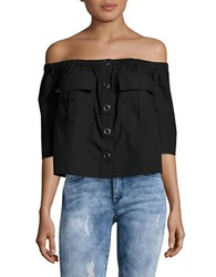 Free People Head Over Heels Button Front Off The Shoulder Top Black