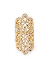Forever 21 Rhinestone Flower Cocktail Ring Gold Clear