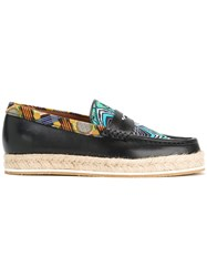 Etro Multi Print Loafers Men Cotton Jute Calf Leather Rubber 41 Blue