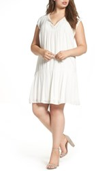 Daniel Rainn Plus Size Women's Crochet Trim Dress Ivory