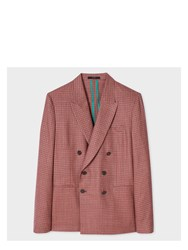 Paul Smith Men's Tailored Fit Red Mini Check Double Breasted Wool Blazer