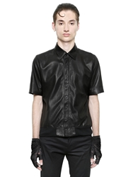 Christian Dada Nappa Leather Short Sleeve Shirt Black