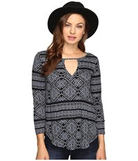 Lucky Brand Geo Printed Top Blue Multi Women's Clothing