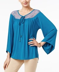 Ny Collection Lace Yoke Peasant Top Blue Sapphire