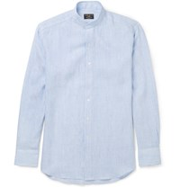 Emma Willis Slim Fit Grandad Collar Striped Linen Shirt Blue