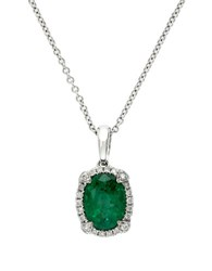 Effy Brasilica 14K White Gold Emerald And Diamond Pendant Necklace