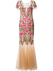 Marchesa Notte Floral Embroidery Dress Pink Purple