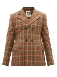 Connolly Double Breasted Checked Wool Blazer Brown Multi