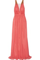 Marchesa Embellished Silk Gown Orange