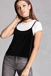Forever 21 Velvet Twofer Crop Top Black