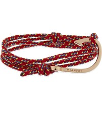 Miansai Hook Rope Wrap Bracelet Rose Gold Red