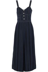 Temperley London Sail Boat Cropped Striped Jacquard Jumpsuit Navy