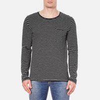 Nudie Jeans Men's Orvar Pocket Long Sleeve T Shirt Black White