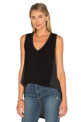 Heather Cotton And Gauze V Neck Panel Tank Black