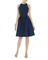 Alfred Sung Fit And Flare Doupioni Halter Dress Midnight