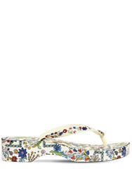 Tory Burch 40Mm Cut Out Floral Rubber Flip Flops White