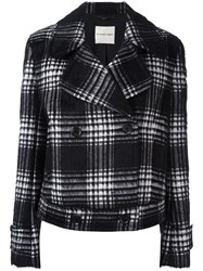 Ungaro Emanuel Plaid Double Breasted Jacket Black