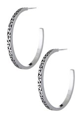 Lois Hill Sterling Silver Large Signature Cutout Hoop Earrings Metallic