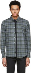 Naked And Famous Denim Green Plaid Shirt