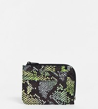 Monki Neon Snake Print Faux Leather Card Case Multi