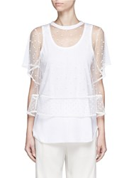 Chloe Embroidered Dot Tulle Top And Jersey Tank White