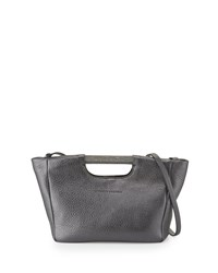 Brunello Cucinelli Small Metallic Tote Bag W Shoulder Strap Graphite Grey