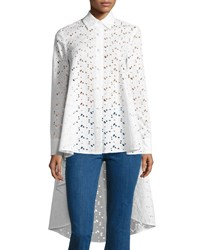 Co Eyelet Lace Waterfall Back Shirt White