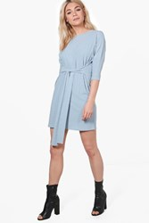 Boohoo Rib Knit Tie Waist Dress Pale Blue