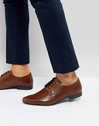Pier One Leather Brogue Shoes In Brown