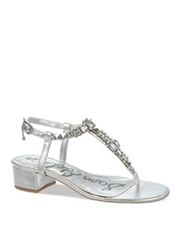 Sam Edelman Block Heel T Strap Sandals Annalise Metallic Jeweled Metallic Silver