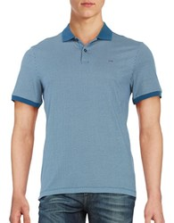 Michael Kors Patterned Performance Polo Pacific Blue