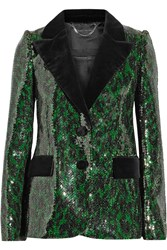 Marc Jacobs Velvet Trimmed Sequined Blazer Green