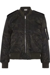 Saint Laurent Camouflage Print Shell Bomber Jacket Army Green