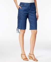 Style And Co Petite Ruched Hem Chambray Cargo Bermuda Shorts Only At Macy's Medium Chambray