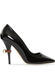 Burberry D Ring Detail Patent Leather Square Toe Pumps Black