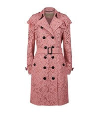 Burberry Lace Ruffle Detail Trench Coat Female Pink