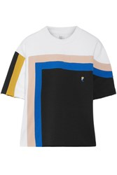 P.E Nation Tri Block Oversized Striped Cotton Jersey T Shirt White