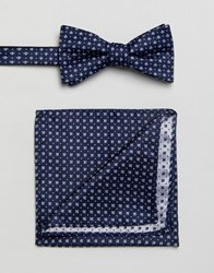 Selected Homme Bow Tie And Pocket Square Comb 9 Dark Navy Multi