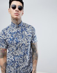 Pretty Green Slim Fit Patent Paisley Short Sleeve Shirt In Navy