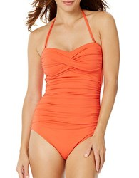 Anne Cole Live In Colortwist Shirred Halterneck One Piece Swimsuit Orange