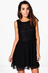 Boohoo Corded Lace Top Chiffon Skater Dress Black