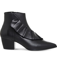 Office Luscious Ruffled Leather Ankle Boots Black Leather